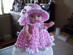 "Berenguer 5"" Baby Dolls - Long Pink Dress with Bonnet # 100   More can be see on Pinterest under Jana Langley Berenguer 5"" Dolls with crocheted outfits"