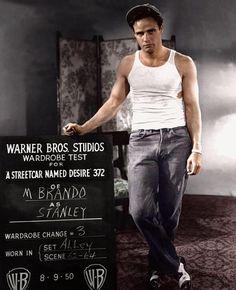 Marlon Brando as Stanley in A Streetcar named desire. Born today in 1924 - Marlon Brando, actor (Superman, Godfather), born in Omaha, Nebraska. (via ClassicPics on Twitter)