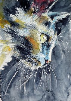 Cat Art Print by Kovacs Anna Brigitta. All prints are professionally printed, packaged, and shipped within 3 - 4 business days. Choose from multiple sizes and hundreds of frame and mat options. Watercolor Cat, Watercolor Animals, Watercolour Painting, Watercolors, Galerie Saatchi En Ligne, Canva Instagram, Cat Sketch, Cat Art Print, Wow Art