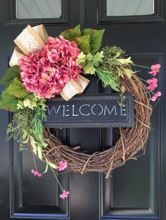 Shabby Chic Country Wreath - Welcome Wreath - Pink Hydrangea Wreath - Spring Wreath - Summer Wreath - Gift Ideas - Housewarming Gift -Wreath by jennyCmoon on Etsy https://www.etsy.com/listing/260181436/shabby-chic-country-wreath-welcome