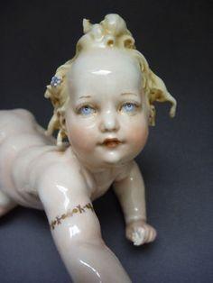 Antique Porcelain Cappe Capodimonte Cherub Figurine
