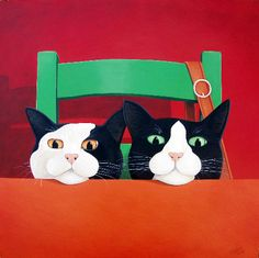 """Waiting for Dinner"" Cat Greeting Card by Vicky Mount Waiting for Dinner. This artist card is blank inside and published by Art Cove UK."