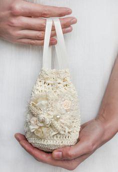 Bridal hand crochet ivory purse. Bridal handmade  bag