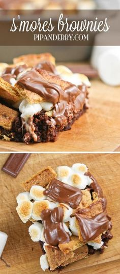 S'mores Brownies - no campfire needed for this version of s'mores! This recipe is ridiculously easy, with only a few ingredients needed.