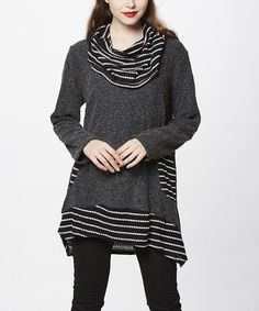 Look what I found on #zulily! Gray & White Stripe Cowl Neck Tunic #zulilyfinds