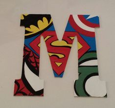 """Custom Order 13"""" Large Decorative Letter Wall Art: The Superheroes, Comic Book Style Personalized & Ready to Hang."""