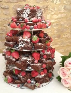 Chocolate brownie tower with fresh berries