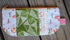 Geometric hand printed zakka love pouch on Etsy, $14.00