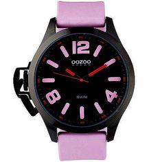 Ρολόγια : Unisex Ρολόι Oozoo XXL Black Dial Pink Rubber Strap - OS377 Light Blue, Unisex, Pink, Accessories, Watches, Black, Wristwatches, Black People, Clocks