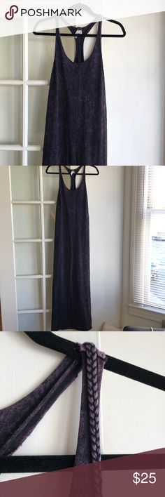 """Free People Maxi Dress With Braided Straps This Free People maxi dress is made of the softest cotton jersey (has a decent amount of stretch) and features braided straps. It is a deep purple and black fabric. Only worn a couple times. Size small and runs long (long enough for me and I am 5'10""""!). Features a raw hem so can easily be cut shorter. Free People Dresses Maxi"""