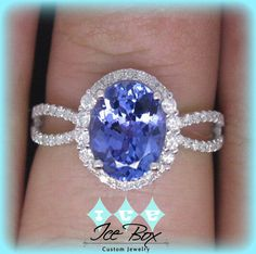 2.4ct Oval Tanzanite Vintage Engagement Ring in a 14K White Gold Diamond Halo Split Shank Setting on Etsy, $1,020.00