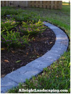 Paver edging: wide hardscape transition from lawn to plant beds. Huge maintenance time saver - they are secured with concrete and recessed into the sod so no edger required - just mow and go!