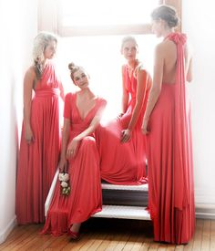 Twobirds Coral multi-way dress for bridesmaids