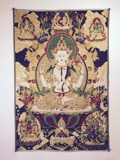 buy meditation yoga inspired Tibetan thangka Avalokiteshvara on nave blue and gold at www.explosionluck.com