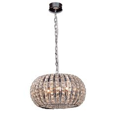 For closet.............This three-light crystal chandelier creates an elegant feel with chrome accents and crystal details. Included with this chandelier is a 35.5-inch chain.
