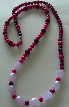 Purple pink & moonstone handmade necklace long