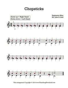 Chopsticks free sheet music for piano or keyboard. This easy arrangement can be played with only two fingers!