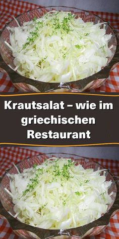 Salad Recipes, Cabbage, Salads, Food And Drink, Low Carb, Yummy Food, Vegan, Vegetables, Restaurant