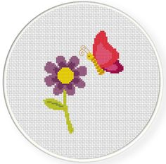 SALE Butterfly and Flower PDF Cross Stitch by DailyCrossStitch