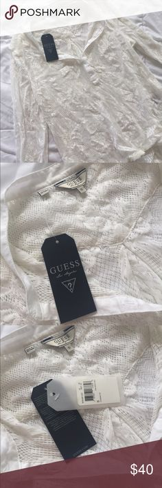 NWT Guess Lace Long Sleeve Top Beautiful white lace top with Lace trim on the bottom of the top. NWT! Any questions please ask! Guess Tops Tees - Long Sleeve