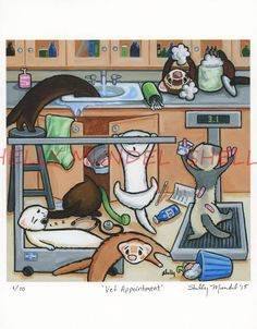 "Art by Shelly Mundel Ferret People ""Vet Appointment"" 6x6 inch Canvas Print #OutsiderArt"