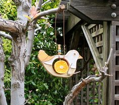 Clay Bird Feeder With Beaded Post And Branch Perch - Fruit Or Suet Holder