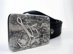 Treble Hook Belt Buckle  Etched Stainless Steel  by RhythmicMetal, $60.00