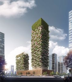 Milan-based Studio of Architecture Stefano Boeri Architetti designs Asia's first vertical forest in the Nanjing Pukou District near the Yangtze River in China. Nanjing, Greenhouse Glass Panels, Dome Greenhouse, Green Architecture, Sustainable Architecture, Biophilic Architecture, Contemporary Architecture, In China, Vertical Forest