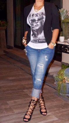 Black Blazer, Marilyn Monroe tee shirt.