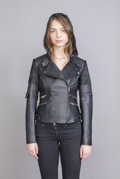 Esme Leather jacket with detachable hoodie Moto Jacket, Leather Jacket, Pony Hair, S Models, Hand Weaving, Lace Up, Hoodies, Link, Long Sleeve