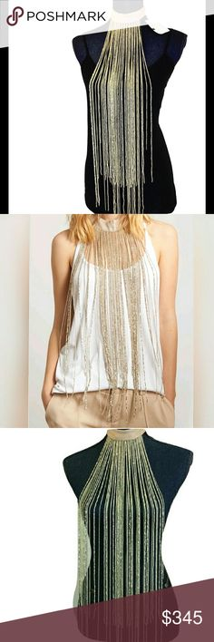 NEW HAUTE HIPPIE Cascade Gold Silver Necklace NWT Stunning NEW with tags Haute Hippie waterfall cascade bead and silver chain necklace. Features a soft gold/silver sheen and beige. When you see the detail in this necklace you will understand instantly why it retails for well over $300! I am in love with the details in this fringe choker statement piece! Haute Hippie Jewelry Necklaces