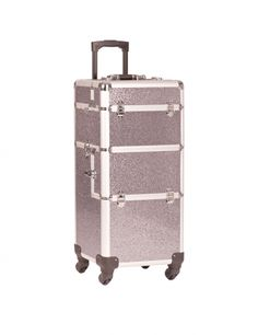 Ideal for transporting equipment in the mobile nail studio is an elegant glitter trolley in pink or black. The generous spacing inside the case means everything needed for nail designs fits easily. The trolley can be moved easily with handy handle and stable wheels. #nded #trolley #storage #case  www.nded.com