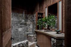 Bathroom of the Redwood Clad Fritz House at Esalen Institute in Big Sur, California