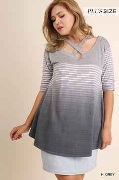 351c39eef91b0 Umgee Washed Ombre Striped Top Tee shirt plus size XL 1X 2X #umgee #Tunic