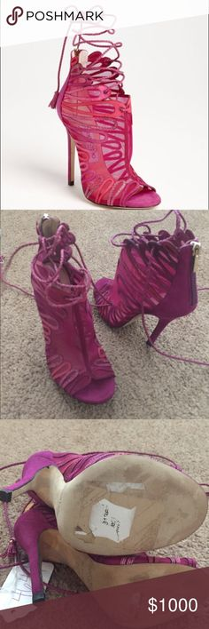 JIMMY CHOO KAIRO HEELS Stunning shoes! These are beautiful open too booting style sandals ready to be worn out! Suede with a mix of mesh and leather in different shades of pink. Worn lightly with part of the Nordstrom price tag still on. Shoes only. NO TRADES Jimmy Choo Shoes Heels