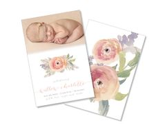 Floral Watercolor Baby Announcement - Printable - $13 She Paperie Co.  Download this printable on Etsy https://www.etsy.com/shop/ShePaperieCo