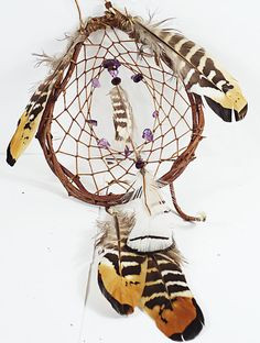 100% authentic Native American dream catcher. Traditional Native American style with a oval hoop made from the bittersweet vine wrapped together by imitation sinew with beautiful purple amethyst chip in the center of the dreamcatcher. All the feather a pheasant, golden and silver pheasant feathers make this small dream catcher a amazing eye piece!  The specs:  - length 26 cm (10 inches) - width 16 cm (6 inches)  - hoop size is 12.5 cm (4.5 inches) by 10.5 cm (4inches)  check out more dream…