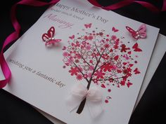 Mothers Day Cards Handmade | Pretty Flower Tree Mother's Day Card - pink & posh