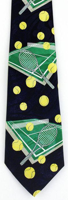 New Tennis Play Mens Necktie Game Racquet Ball Player Balls Sports Neck Tie #Fratello #NeckTie