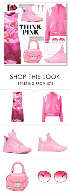 """Think Pink"" by leanne-mcclean ❤ liked on Polyvore featuring Oscar de la Renta, Yves Saint Laurent, Puma, SALAR, Chanel, Oliver Peoples and Miu Miu"