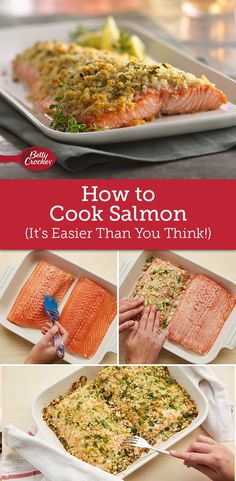 Learn how to cook salmon, how to bake salmon, how to grill salmon and more, and you'll always have salmon recipesa delicious plan to fall back on, whether you are hosting a dinner party or just making a last-minute weeknight meal. Salmon Recipes, Fish Recipes, Seafood Recipes, Great Recipes, Cooking Recipes, Favorite Recipes, Healthy Recipes, Cooking Rice, Cooking Broccoli