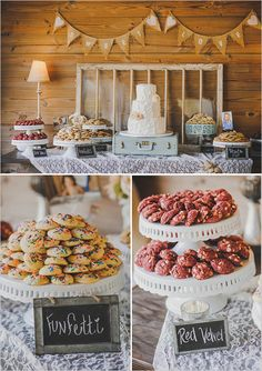 Wedding Dessert and Candy Displays, Add tasty flair to an elegant or rustic wedding reception with a dessert table that tantalizes guests while reflecting your unique personality., Wedding Dessert and Candy Displays Dessert Bars, Buffet Dessert, Dessert Tables, Party Buffet, Cookie Buffet, Dessert Stand, Cupcake Stands, Wedding Cookies, Wedding Desserts