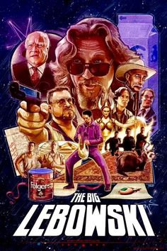 The Big Lebowski - 1998 American Jeff Bridges Movie Poster Best Movie Posters, Cinema Posters, Movie Poster Art, Art Posters, O Grande Lebowski, El Gran Lebowski, Film Movie, See Movie, Movies And Series