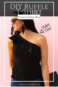 DIY a 1 shoulder top from an old t-shirt. Easy clothing refashion to upcycle your tshirts into cute clothes! Zerschnittene Shirts, Cut Up Shirts, Easy Clothing, Diy Clothes, Upcycled Clothing, Style Clothes, Sewing Clothes, Ruffle Shirt, T Shirt Diy