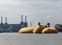 'HippopoThames', A Giant Cartoony Hippopotamus Sculpture Floating in the Thames River in London