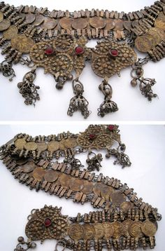 Yemen | Bedouin belt was worn by women from the Arabian Peninsula on special occasions | Main part of the belt is low grade silver, gold tone (old gold gilt ?), pendants are high grade silver | ca. 1950s | 485$