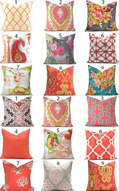 Pillow Covers ANY SIZE Decorative Home Decor Burnt Orange Pink Designer Throw Pillow Covers You Choo : Lots of coral and pink sofa pillows. You can slipcover right over your existing pillows to have a whole new look. Decorate in a snap! Orange Pillows, Pink Pillows, Floral Pillows, Sofa Pillows, Decorative Throw Pillows, Colorful Throw Pillows, Colourful Cushions, Handmade Pillow Covers, Handmade Pillows