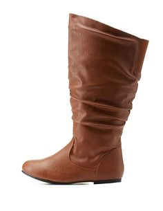 Wide Calf Flat Ruched Mid-Calf Boots by Charlotte Russe - Cognac