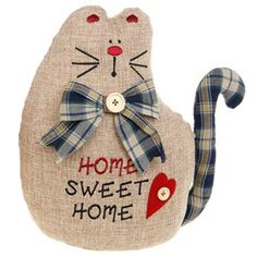CHEEKY - Fat Cat - Home Sweet Home - Doorstop - Beige / Blue ZJD26770B | eBay