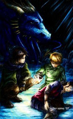 Murtagh<3, Eragon even though he's got brown hair, Arya, Saphira.